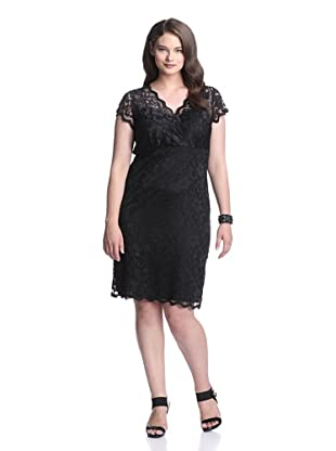 Marina Plus Women's V-Neck Lace Dress (Black)