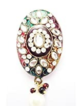 Khubsurat Saree Pin & Brooch, Multi Color Enameled & Stone Stud with Drop, Oxidized Gold Tone For Women