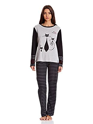 Bluedreams Pijama Señora P Liso (Negro)