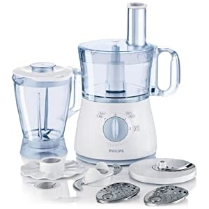 Philips HR7625 500-Watt 2-Litre Mini Food Processor with Blender (White and Lavender)