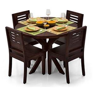 Liana-Capra 4 Seat Dining Table Set (Mahogany Finish)