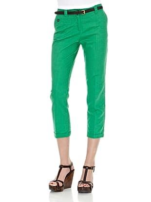 Cortefiel Pantalón Básico Lino Pirata T 9 (Verde)
