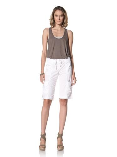 XCVI Women's Ruched Pocket Poplin Shorts (White)