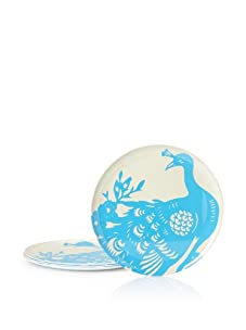 "Thomas Paul Set of 4 Peacock Dinner Plates, Blue, 11"""