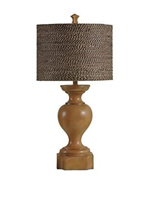 StyleCraft Abundant Balustrade Design Table Lamp with Designer Shade, Highlands Pine