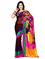 Admyrin Brown and Multi Colour Georgette Saree with Pink Blouse
