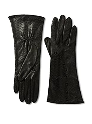 Portolano Women's Silk Lined Perforated Leather Gloves with Buttons (Black)