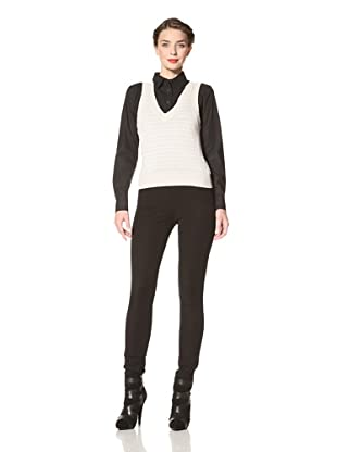 Red Valentino Women's Sleeveless Sweater with Pleat Detail (Beige)