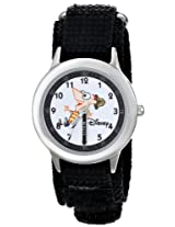 Disney Kids W000158 Phineas Stainless Steel Time Teacher Watch with Black Nylon Band