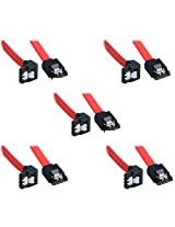 ADMI (5 Pack Sata 3 Data Cable) (40cm) Storite SATA III (SATA 3) cable Red with Locking Latch straight to Right Angle 90 Degree | compatible up to S-ATA/600 | Serial ATA | 1,5GBs/3GBs/6GBs (backward compatible) | S-ATA Cable l Compatible with Sata I and Sata II