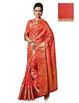 Meghdoot Artificial Silk Saree (VIVAAH_MT1103_PEACH Woven Peach Colour Sari)