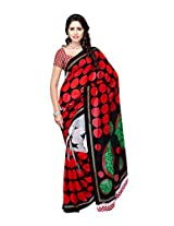Ambaji Black & Red Coloured Dani Georgette Printed Saree