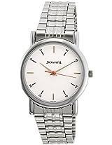 sonata 7987sm03 gents watch, white, silver