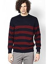 Maroon Round Neck Sweater (Trim Fit)