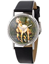 Whimsical Watches Kids' R0110030 Classic Quarter Horse Black Leather And Silvertone Photo Watch