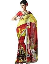 Pagli multi colour printed saree with lace border and silk blouse.