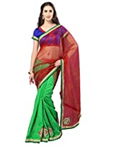 Admyrin Green and Red Half n Half Saree with Dupioni Blouse