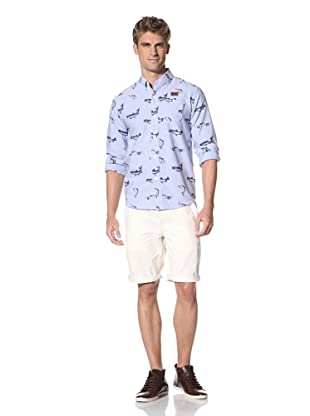 Under 2 Flags Men's Long Sleeve Printed Fishes Shirt (Dusty Blue)