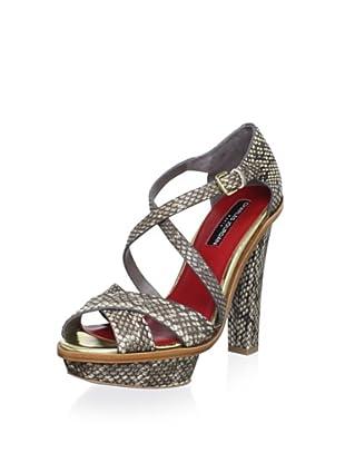 Charles Jourdan Collection Women's Lovey Platform Sandal (Grey Snake)