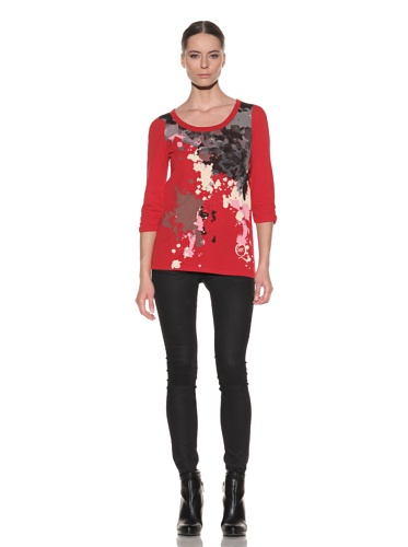 McQ by Alexander McQueen Women's Printed Ruched Sleeve Shirt (Red)