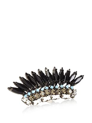 Joanna Laura Constantine Gunmetal and Black Stone Feather Adjustable Ring
