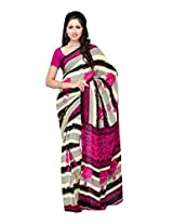 Ambaji Beige & Dark Pink Coloured Renial Printed Saree
