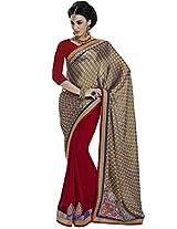 DesiButik's Elegant Gold Crepe Saree