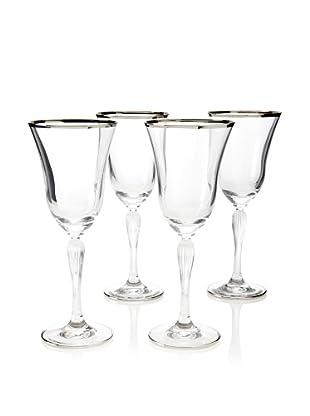 A Casa K Set of 4 Giar 2 Décor 8.5-Oz. Crystal Cordial Glasses, Clear/Platinum