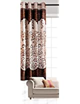 """India Furnish New Collection : Beautiful Panel Design Brown Color Eyelet Polyester Curtain Door Length (Pack of 1 pc) 108""""x48"""""""