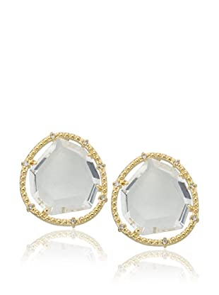 Riccova Clear Sliced Glass Stud Earrings