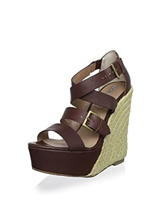 Charles David Women's Native Wedge Sandal (Brown Leather)