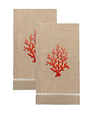Henry Handwork Set of 2 Red Coral French Knot Hand Towels, Natural