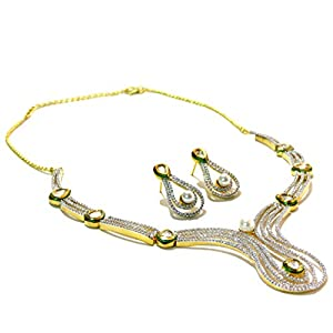 Daamak Jewellery Necklace Set Embedded With Cz And Pearl