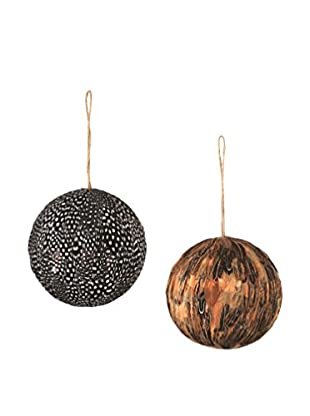 Napa Home & Garden Set of 2 Lodge Quail Feather Balls, Natural