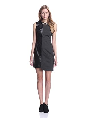 Katherine Barclay Women's Knit Dress with Faux Leather (Grey)