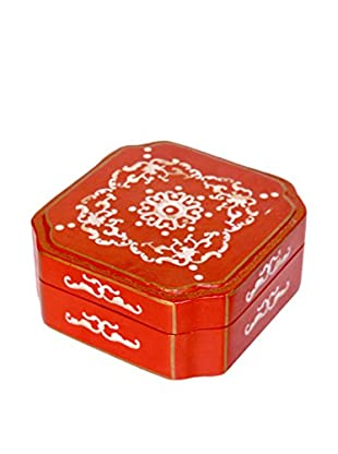 Asian Loft Handcrafted Mother of Pearl Jewelry Box, Red