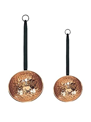 Old Dutch International Set of 2 Décor Copper Ladles with Wrought Iron