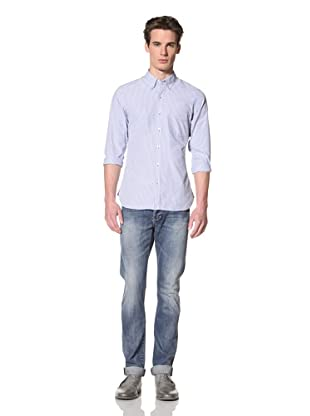 Onassis Men's Wright Slim Button-Down Collar Shirt with Pocket (Light Blue Stripe)