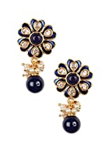 Vidhi'S Beautiful Royal Blue Kundan Pearl Gold Indian Hanging Earrings For Women And Girls