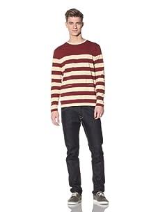 Marshall Artist Men's Sailing Long Sleeved Shirt (Burgundy/Cream)
