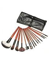15pcs Cosmetic Makeup Powder Brush Set Foundation Leather Case (black)