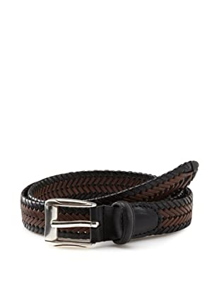 Florsheim Men's Hand-Laced Woven Belt (Black/Cognac)