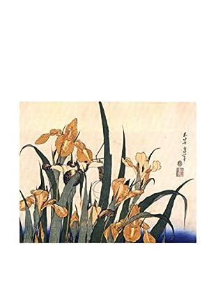 Legendarte Leinwandbild Iris E Cavalletta di Katsushika Hokusai