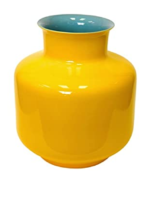 Middle Kingdom Porcelain Monk Vase, Turquoise/Yellow