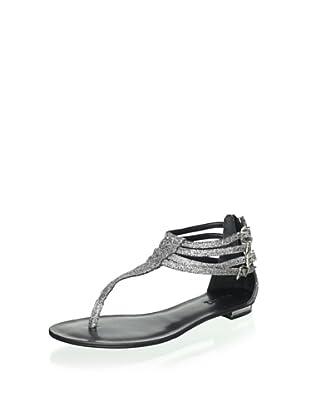 Schutz Women's Thong Sandal (Pewter Glitter)