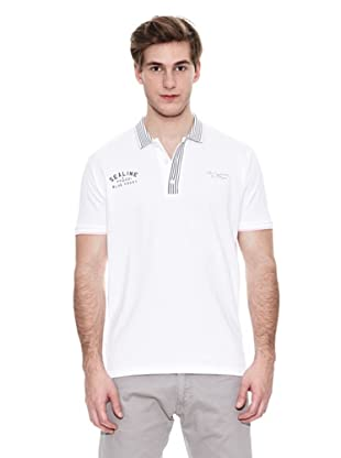 Springfield Polo N1 K1 Pique Striped Polo (Blanco)