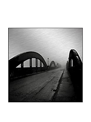 Mist Bridge On The River Photography On Mounted Metal