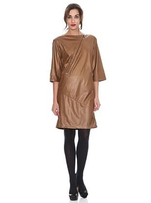 M de Miguel Vestido Cuero Liso (Camel)