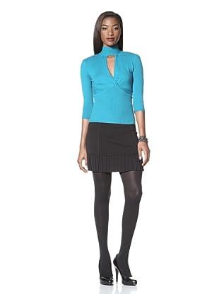 Catherine Malandrino Women's 3/4 Sleeve Sweater with Keyhole (Aqua)