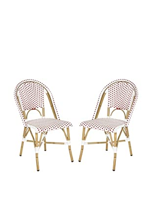 Safavieh Set of 2 Salcha Indoor/Outdoor Stacking Side Chairs, Red & White